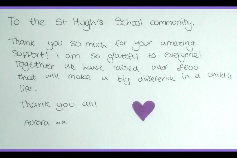 Aurora's thank you note